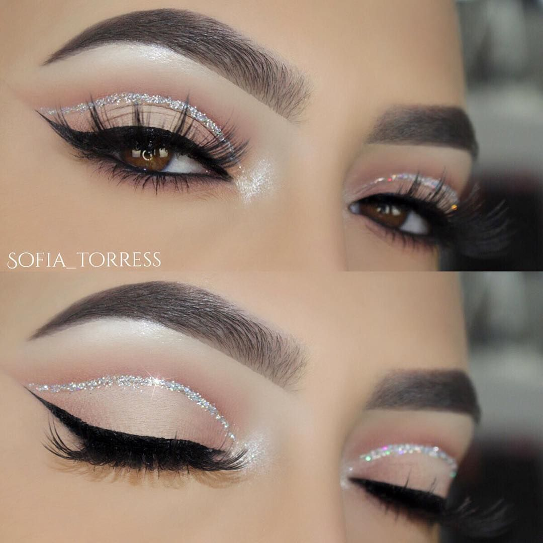 Neutral eye w silver cut crease liner u black winged eyeliner