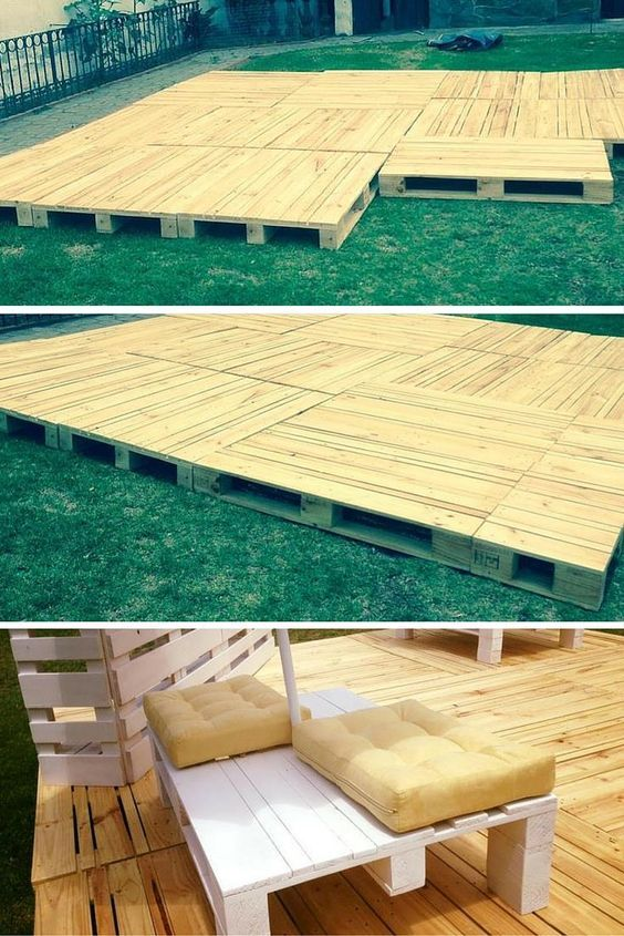 Build Pallets Deck and Furniture Pinterest Suelos, Terrazas y Palets - terrazas con palets