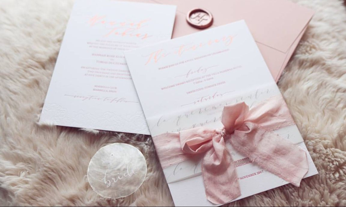 Bespoke luxury wedding invitation design with all the details for a ...