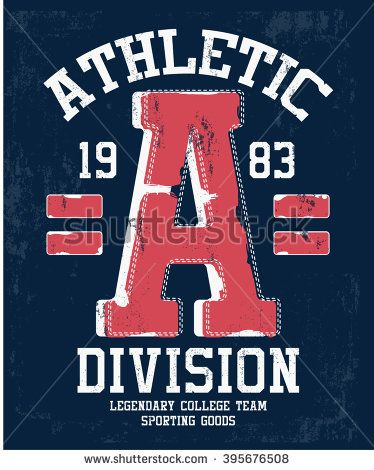 b144bbfee College vector label and print design for t shirt   Boys sports tee ...