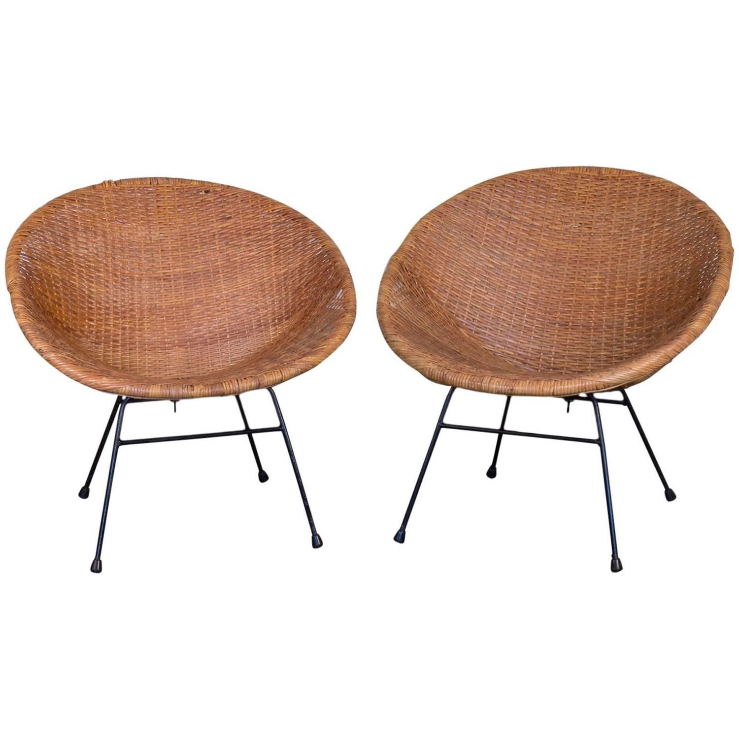 Astonishing Pair Of Mid Century Rattan Scoop Chairs Furniture Uwap Interior Chair Design Uwaporg