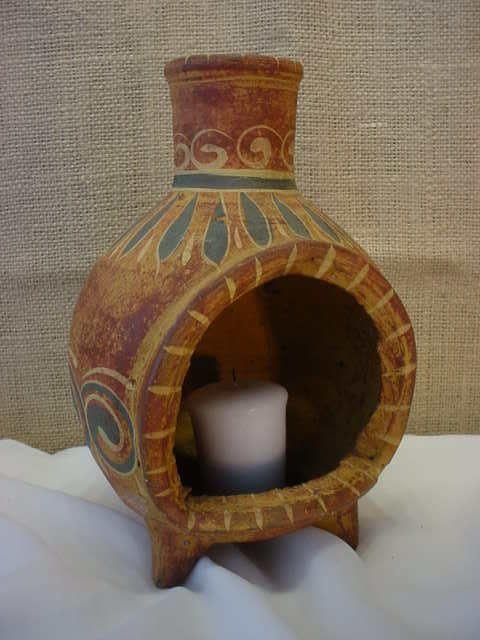 Vintage Talavera Tlaquepaque Clay Hand Formed Painted Chiminea