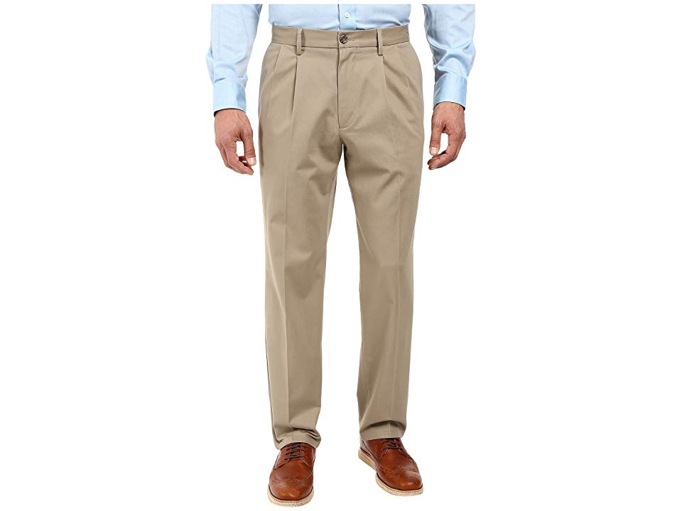 Dockers Signature Khaki D3 Classic Fit Pleated Timberwolf Stretch Mens Casual Pants Please note that the cotton styles are discontinued Your signature wardrobe staple Dua...