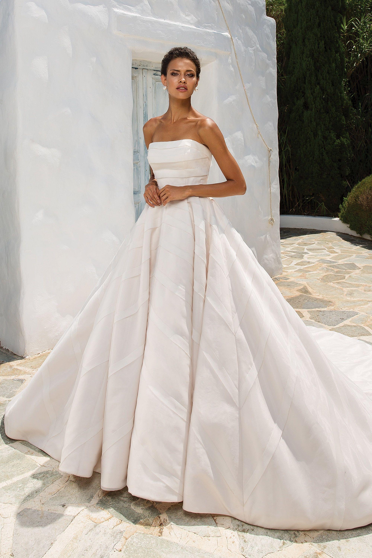 Geometric Organza Mount on Strapless Duchesse Dress, Style 17