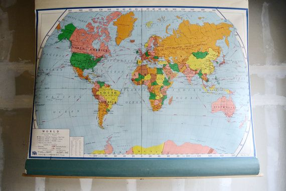 RESERVED For Jill - Vintage Pull Down World Map - School Map ...