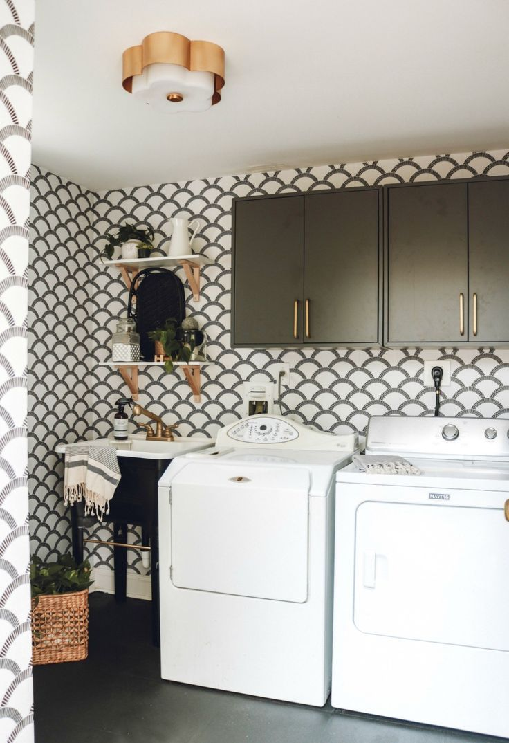 Laundry Room Makeover with Tempaper Removable Wallpaper