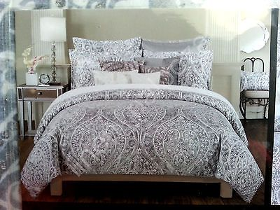 New Tahari Gray Silver Paisley Medallion 3pcs King Duvet Cover