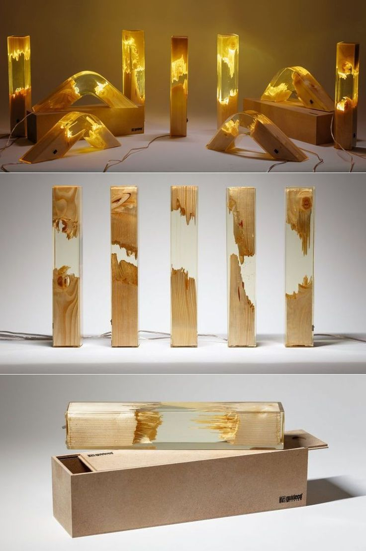 Wood and Resin Lamps by Guideco Design </div>