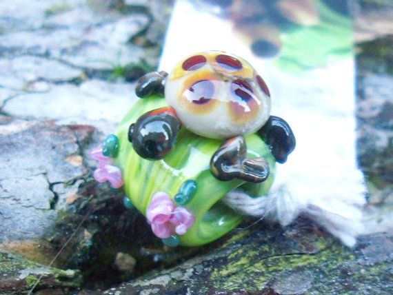 Glass Tortoise Bead  Lampwork Charm Bead by TurnerRoweGlassArt, £15.00