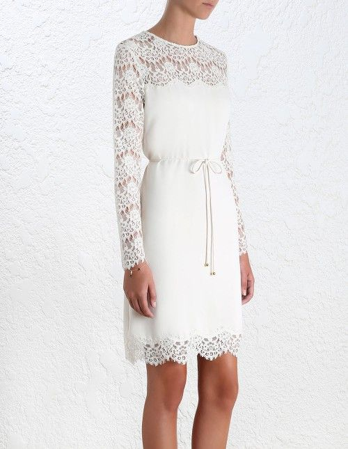 Crepe Lace Shift Dress, from our Spring 16 collection, in Porcelain crepe with lace sleeve and hem. Scalloped lace detail neckline and shoulder. Shift dress with removable self tie belt. Shoulder zip closure.