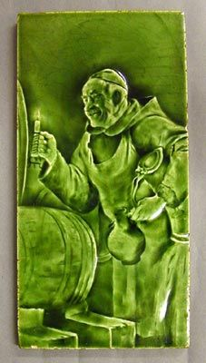 Craven Dunnill And Co Relief Moulded Dust Pressed Tile Figure Of A Monk Filling A Jug From A Barrel All Over Green G Antique Tiles Art Nouveau Tiles Tile Art