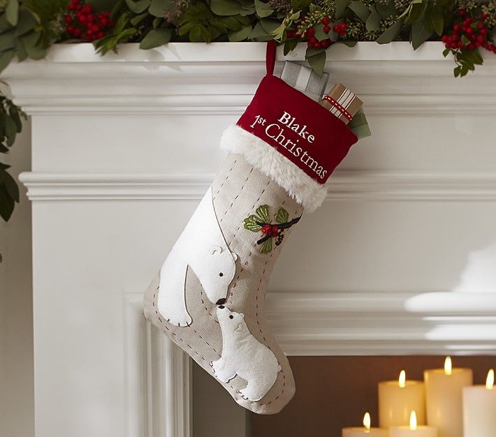 Baby S First Christmas Woodland Stocking With Images