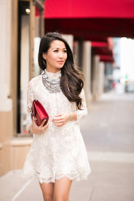 Charmed :: Lace dress & Layered statement necklaces Wendy Nguyen