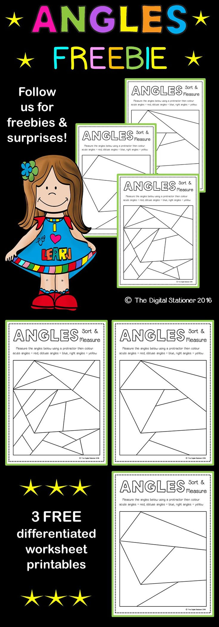 Angles FREEBIE Sort and Measure Grade 6 math