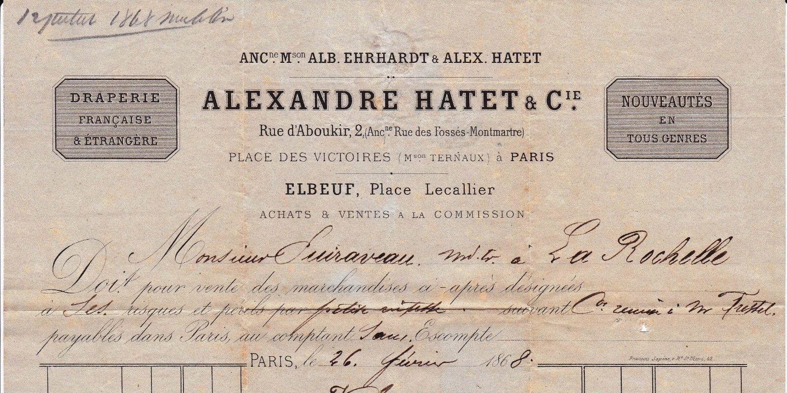 Lettre 1868 Alexandre Hatet Draperie Rue D Aboukir Paris Tissus Textile Drap Ebay Tissus Textiles Tissus Drap