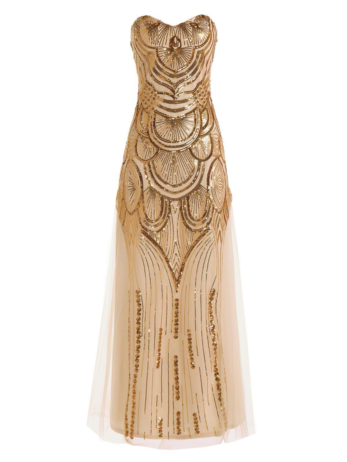 Strapless sequin glitter floor length formal party bridemaid dress