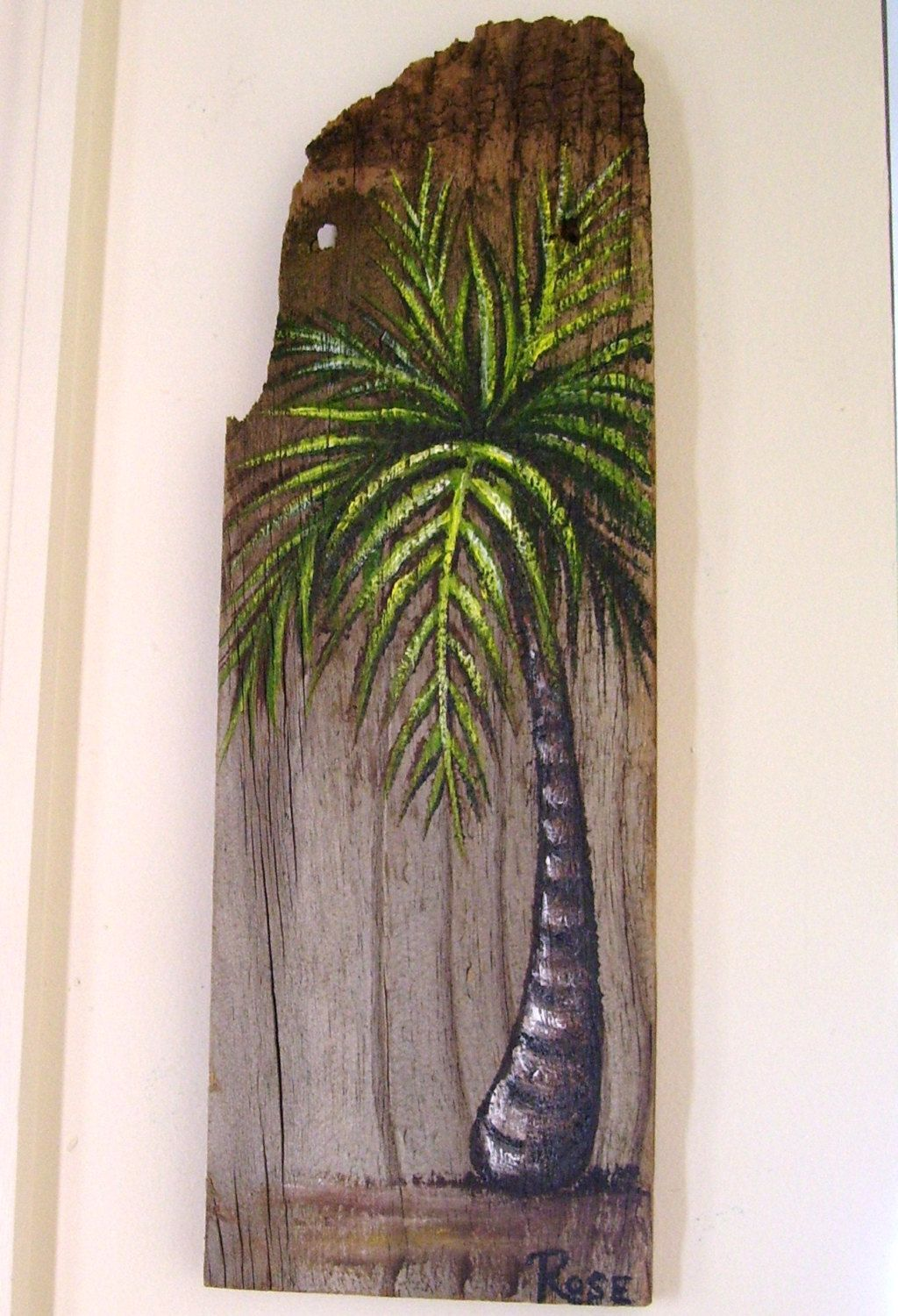 Palm Tree Hand Painted On Reclaimed Fence Board Wood