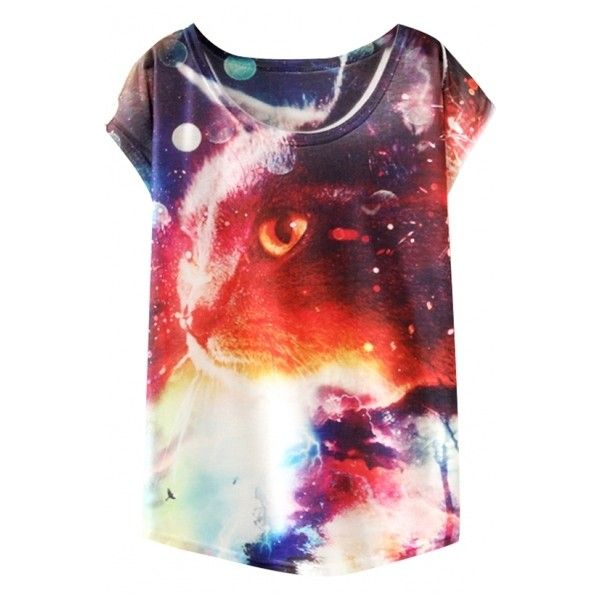 Animal Painting Batwing Sleeve Round Neck T-Shirt ($8.11) ❤ liked on Polyvore featuring tops, t-shirts, bat sleeve tops, animal tees, animal tops, round neck top and animal t shirts