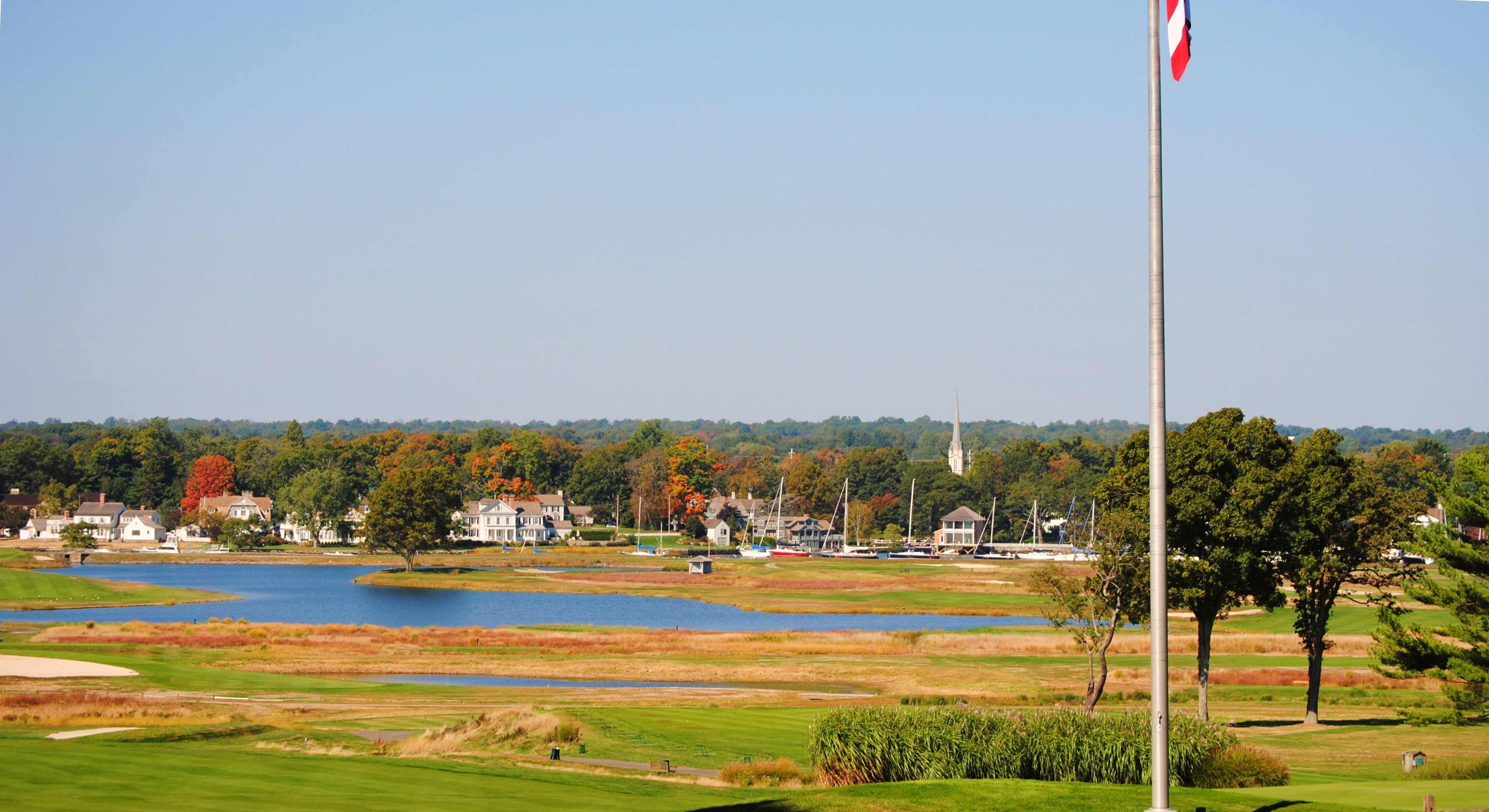 View over golf course from Sasco Hill Rd. Golf courses