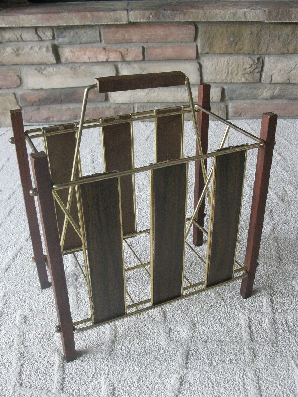 Attirant Mid Century Album Holder  Magazine Rack  Wood  Brass Tone Metal  1960s   Wood Handle  Newspaper Rack  Record Album Rack  Storage Rack By  Oakiesclaptrap On ...