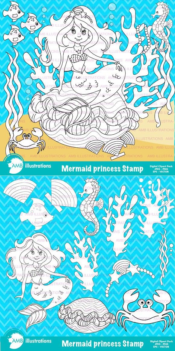 Mermaid Digital Stamps AMB-1106. Printables. $3.00