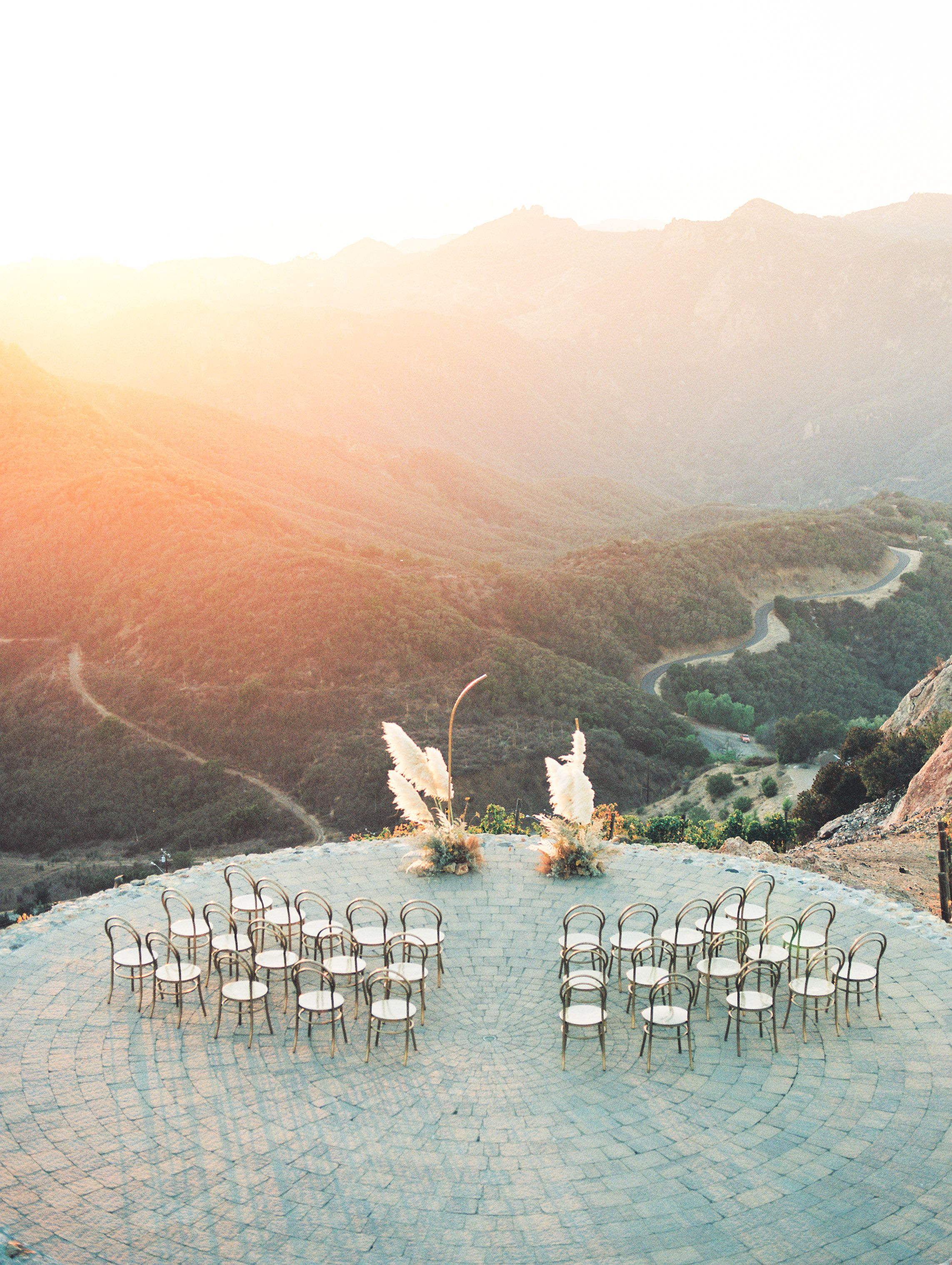 Malibu Rocky Oaks Wedding Inspiration Sunset Ceremony On Top Of The Mountain Malibu Rocky Oaks Wedding Malibu Wedding Malibu Rocky Oaks
