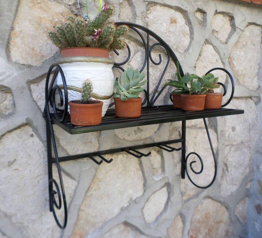 Porta vaso piante fiori fioriera mensola in ferro battuto legno ...