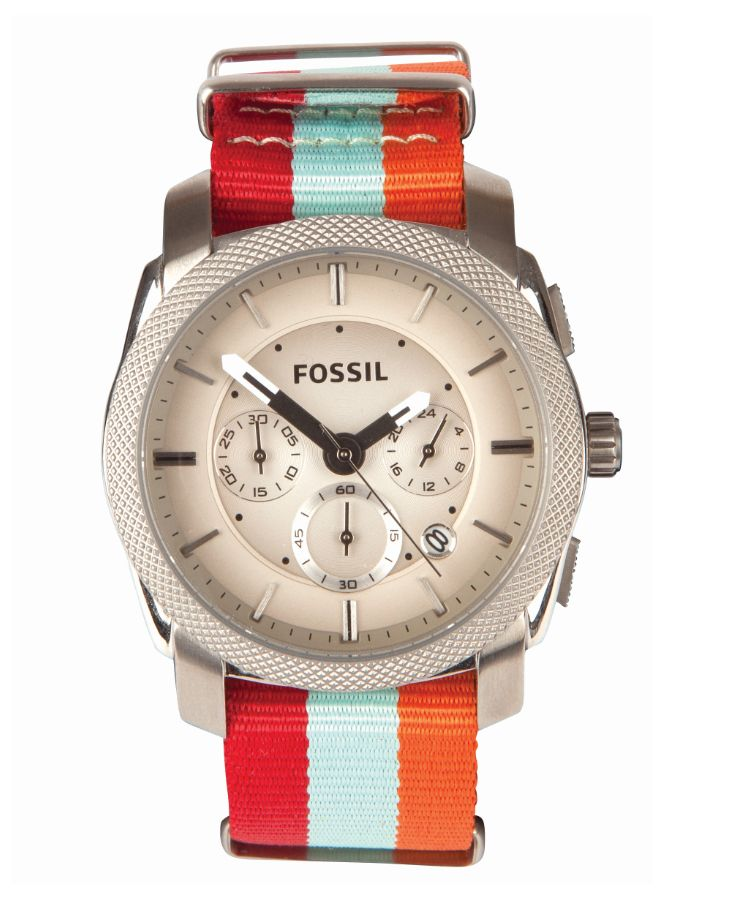 The perfect accessory for a striped outfit. A Fossil watch with custom-chosen striped wraps.