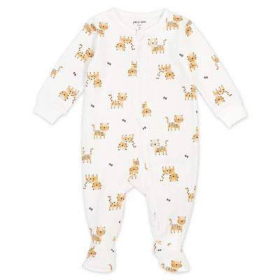 Petit Lem   Newborn Tiger Organic Cotton Footie In Ivory - Your little one will be ready for dreamland in ultra-soft comfort with this Petit Lem Tiger Footie. Made of luxurious organic cotton with a zip front and built-in footies, this adorable design offers total freedom of movement.