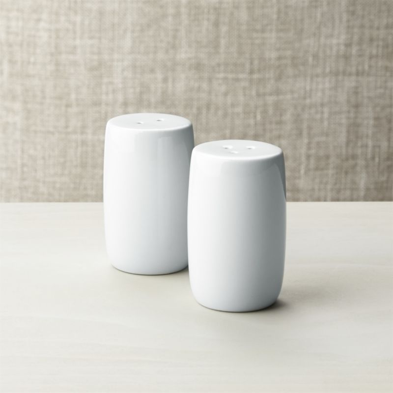 White Porcelain Salt And Pepper Shakers Crate Barrel
