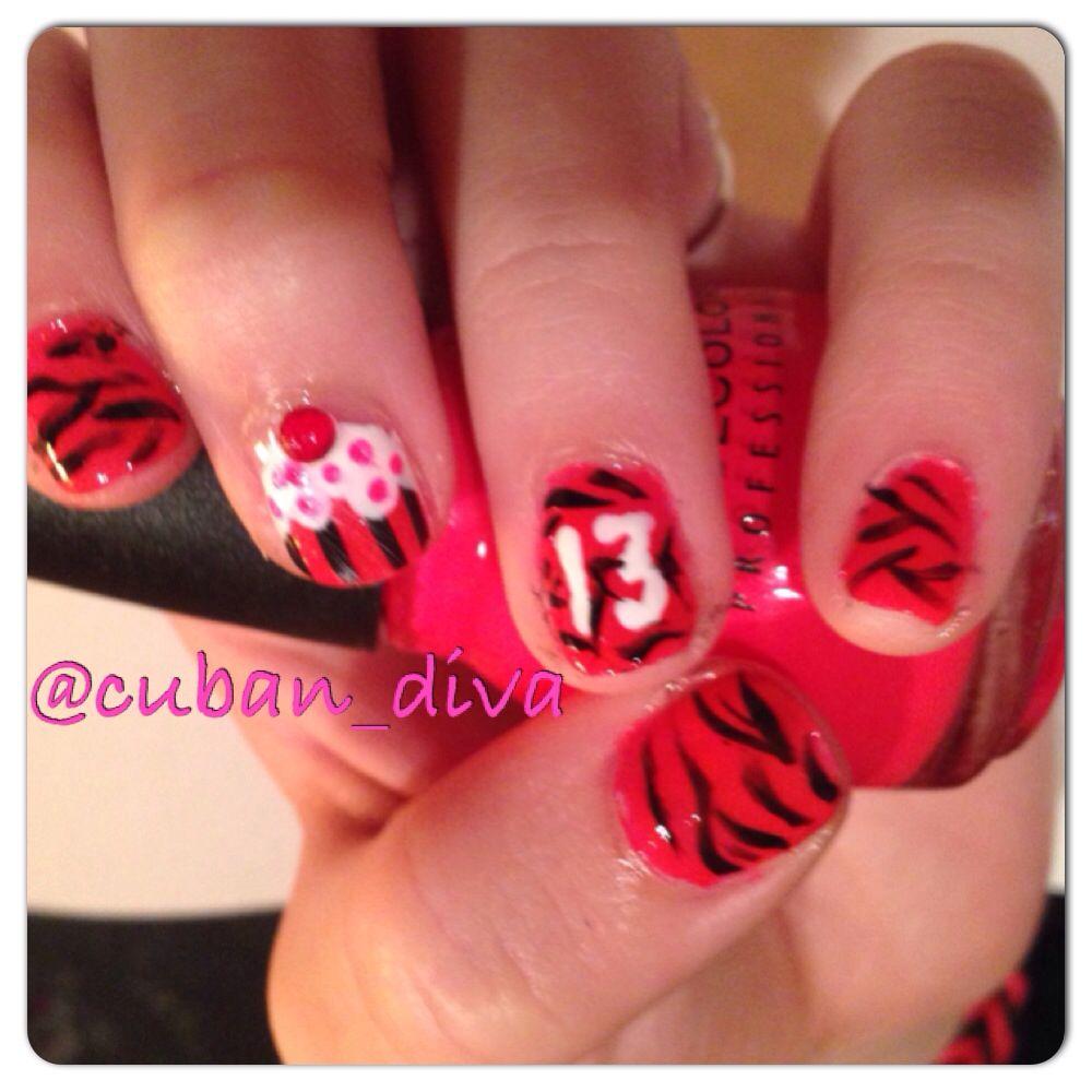13 th birthday nails nail art pinterest birthday nails 13 th birthday nails prinsesfo Choice Image