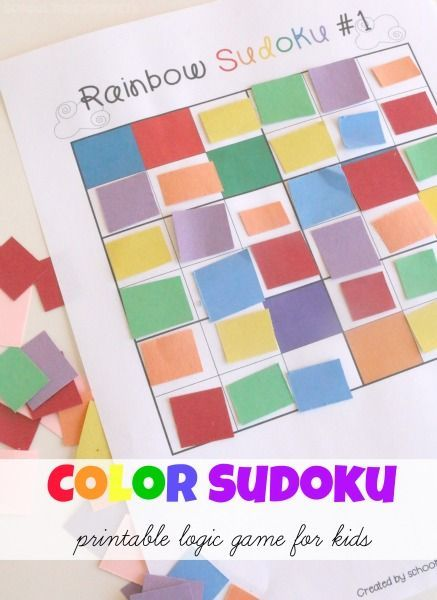 rainbow colors sudoku logic game for kids printable sudoku games included
