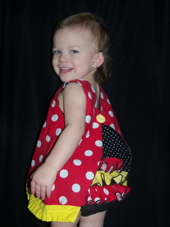 Minnie Mouse Reversible Open Back Dress and matching ruffled bloomers by LilLizaLou on Etsy, $45.00
