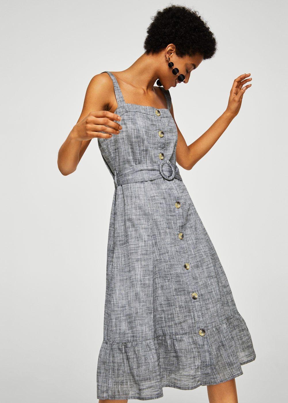 28c178b891 Cotton fabric Heather fabric Fitted design Belt buckle closure Spaghetti  straps Square neckline Ruffled hem