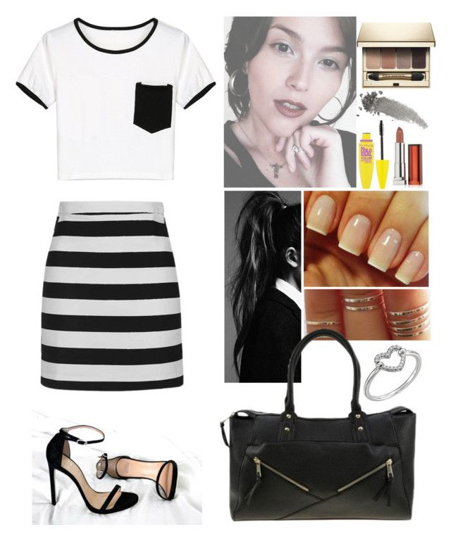 """00285."" by annacastrolima ❤ liked on Polyvore featuring WithChic, Topshop, Maybelline, Clarins, Gucci, blackandwhite and BoldStripes"