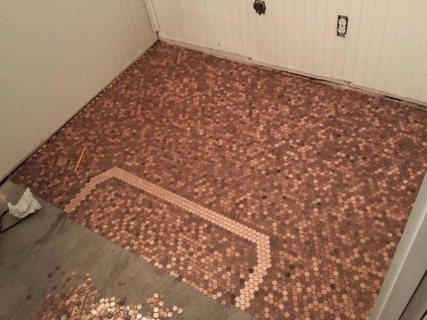 Dad And Daughter Glue Pennies Their Old Floor The