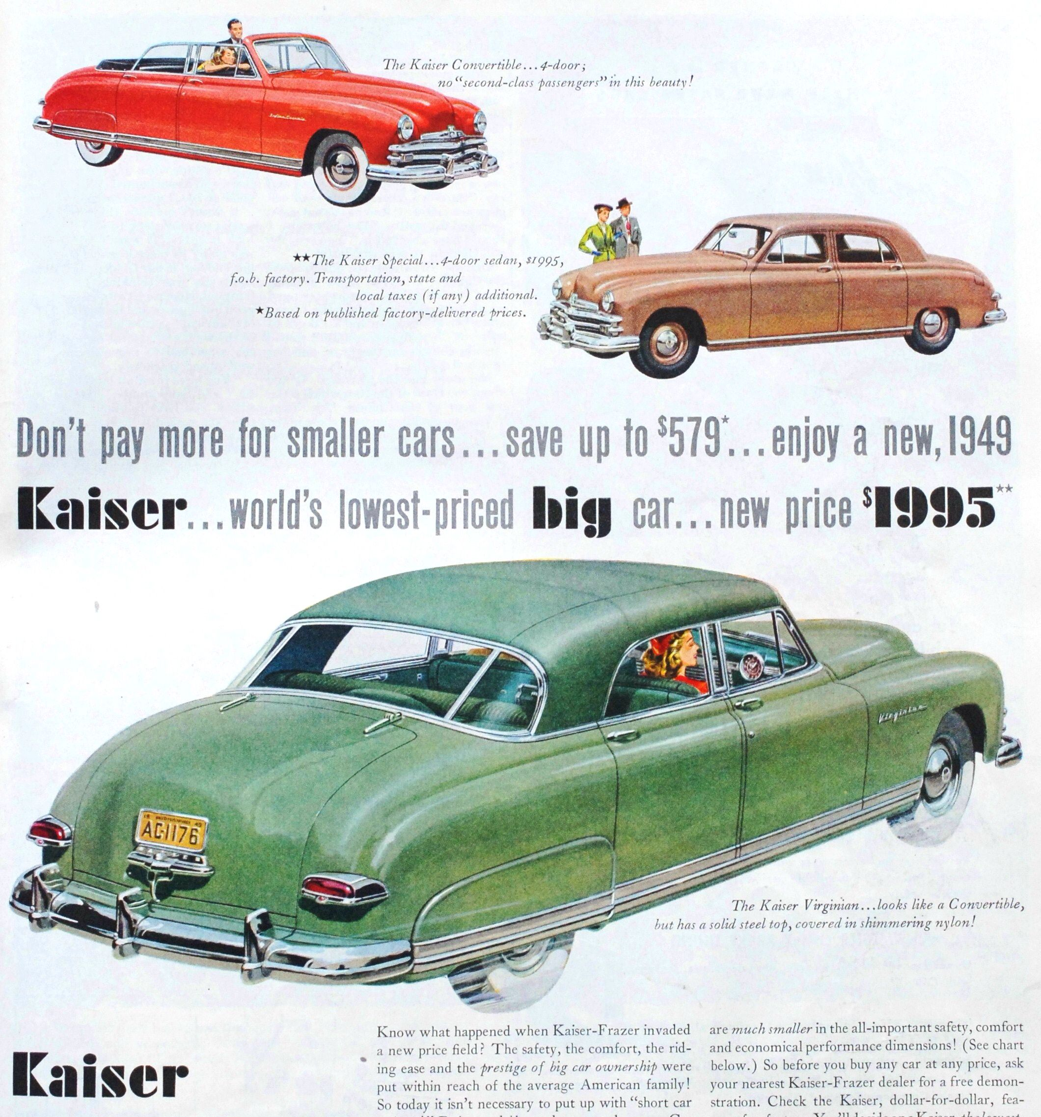 1949 kaiser convertible special four door sedan and virginian