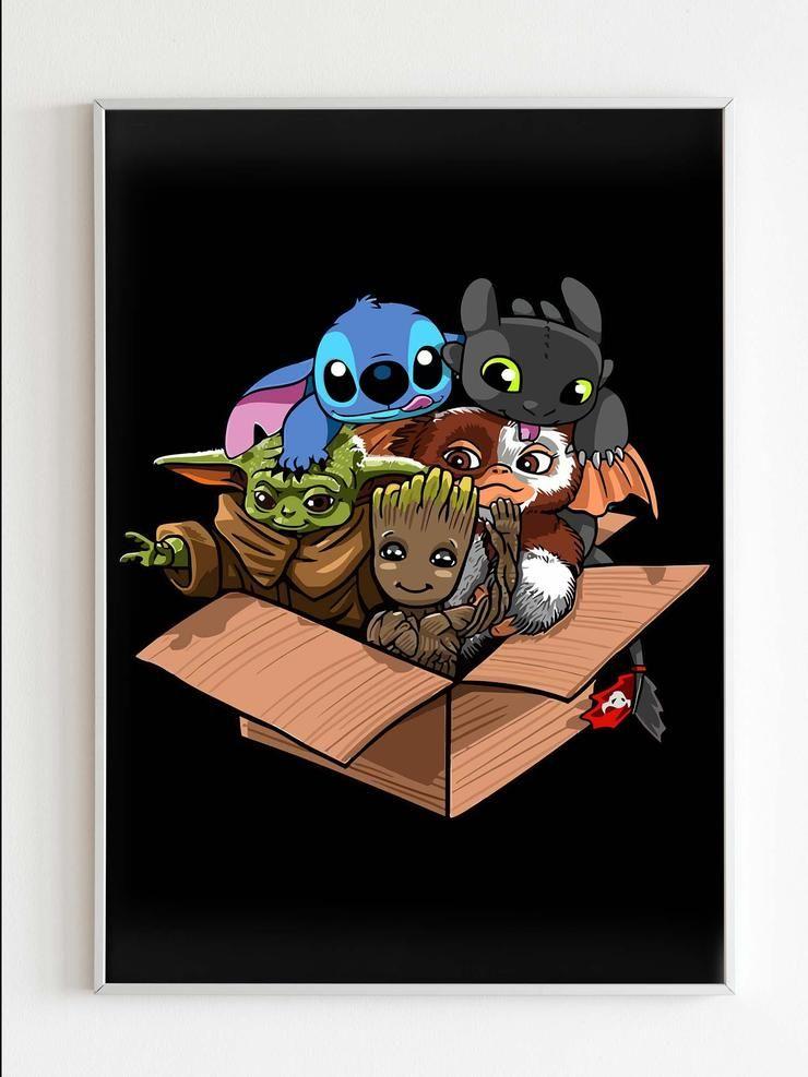 Cute Kawaii Yoda Groot Stitch Toothless Mogwai Poster Stitch And Pikachu Cute Tumblr Wallpaper Toothless And Stitch
