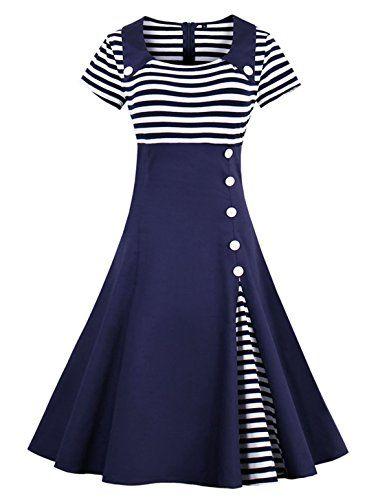 Wellwits Women s Vintage Pin Up A Line Stripes Sailor Dress Navy 2XL ... 1ef21d3d3