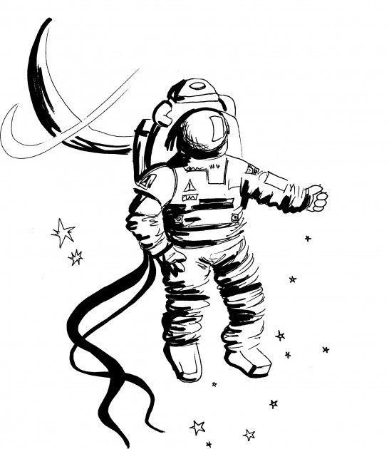 break dancing astronaut drawing - 546×630