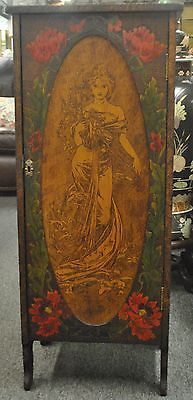 Antique Art Nouveau Flemish Art Pyrography Storage Cabinet With Woman And Roses