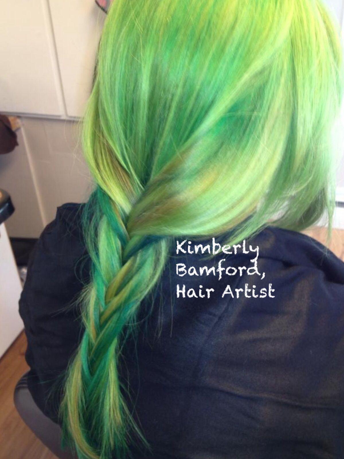 Green and yellow Vivids. Green hair greenhair greenvivids vivids haircolor newburyport