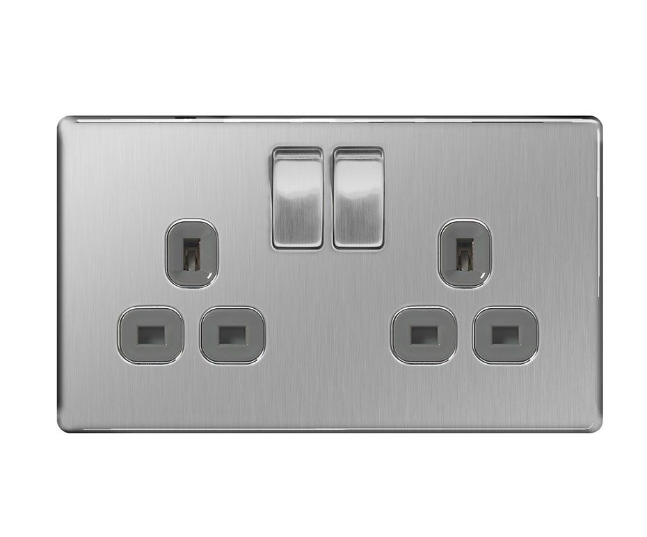 Screwless Flat Plate Double 13a Plug Socket Brushed Steel Grey Inserts