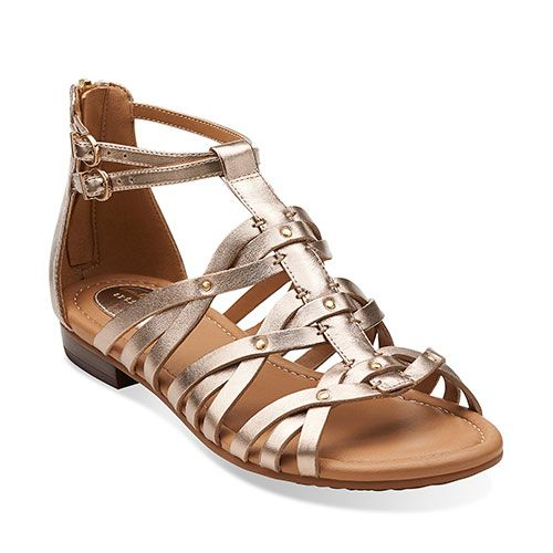 bbae43daa31 Clarks Artisan Viveca Rome Strappy Sandals - Gold Gold Leather