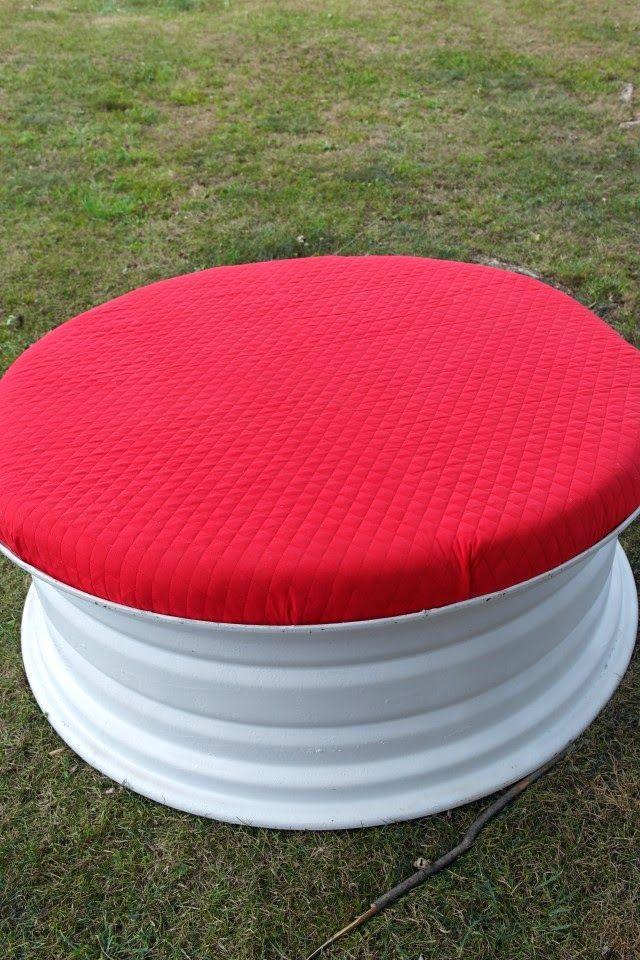 recycled tire rim ottoman pinterest lindos pneuzinhos e pneus reciclar. Black Bedroom Furniture Sets. Home Design Ideas