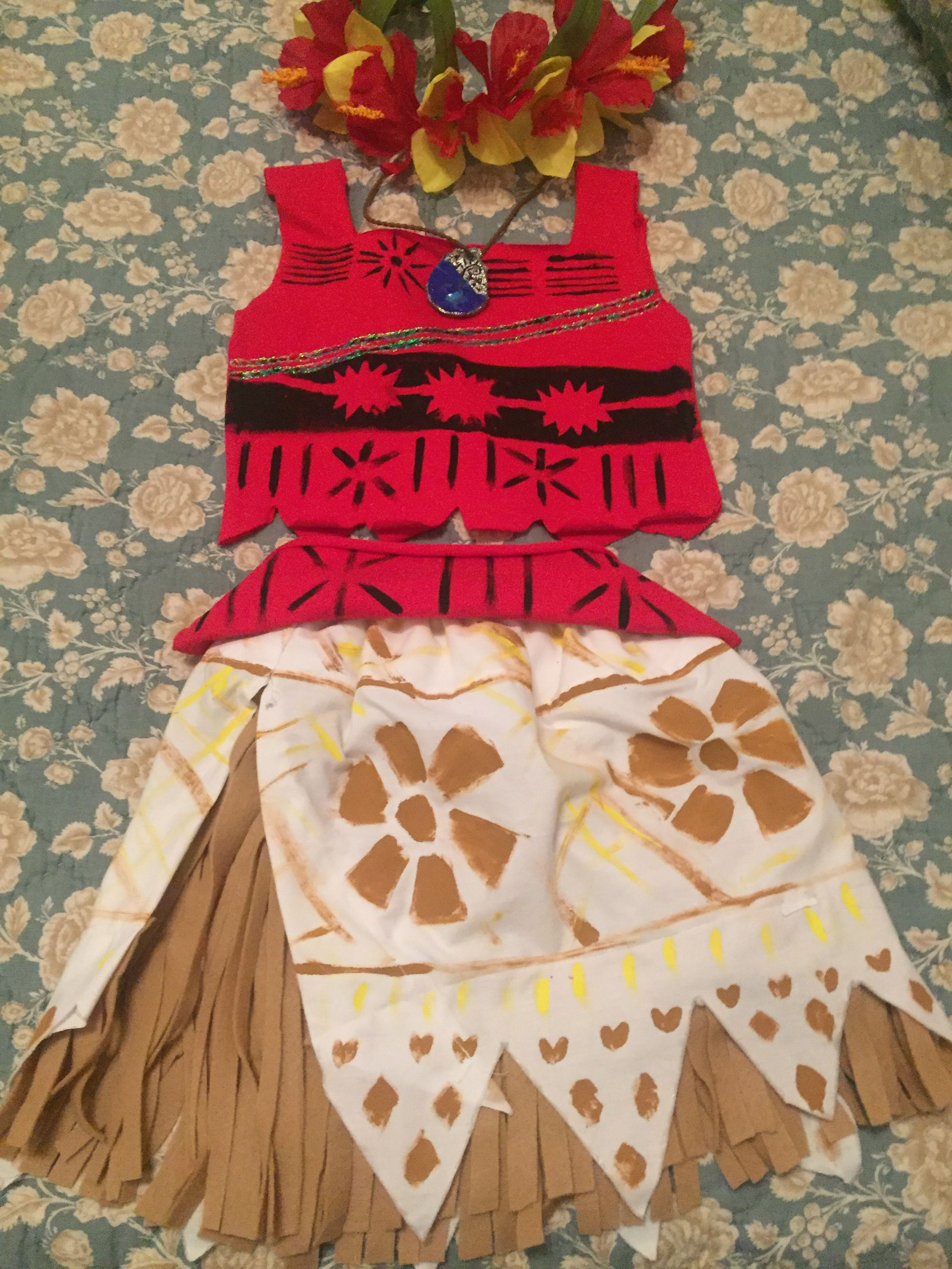 Diy Moanas Costume Pillow Case Elastic T Shirt Paints Felt