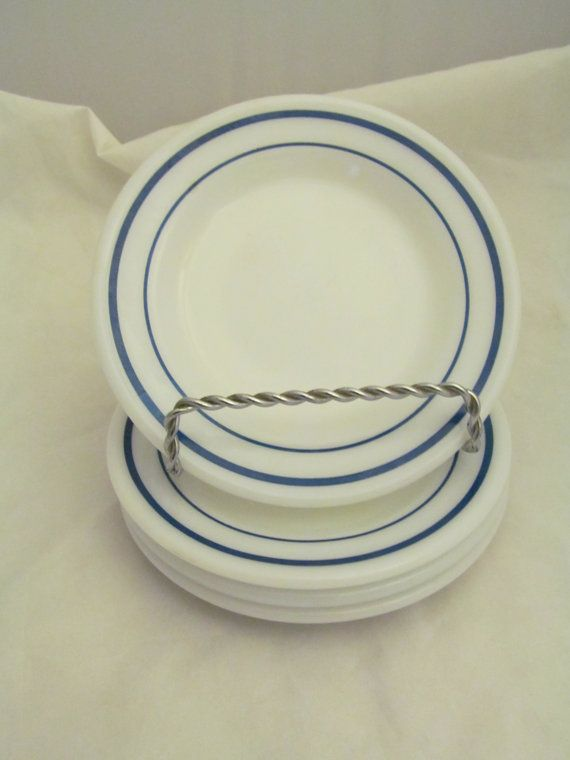 8 Vintage Pyrex Tableware Number 704 Bread Plates Corning Measures 6.75 Blue/Aqua Stripe Milk Glass & 8 Vintage Pyrex Tableware Number 704 Bread Plates Corning Measures ...