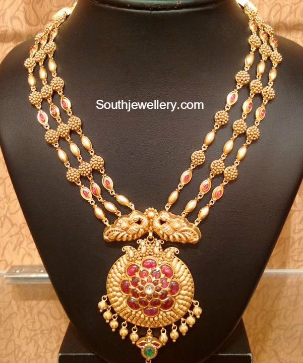Three Step Antique Gold Haram Jewellery Designs Mens Gold Jewelry Gold Necklace Set Antique Gold Jewelry