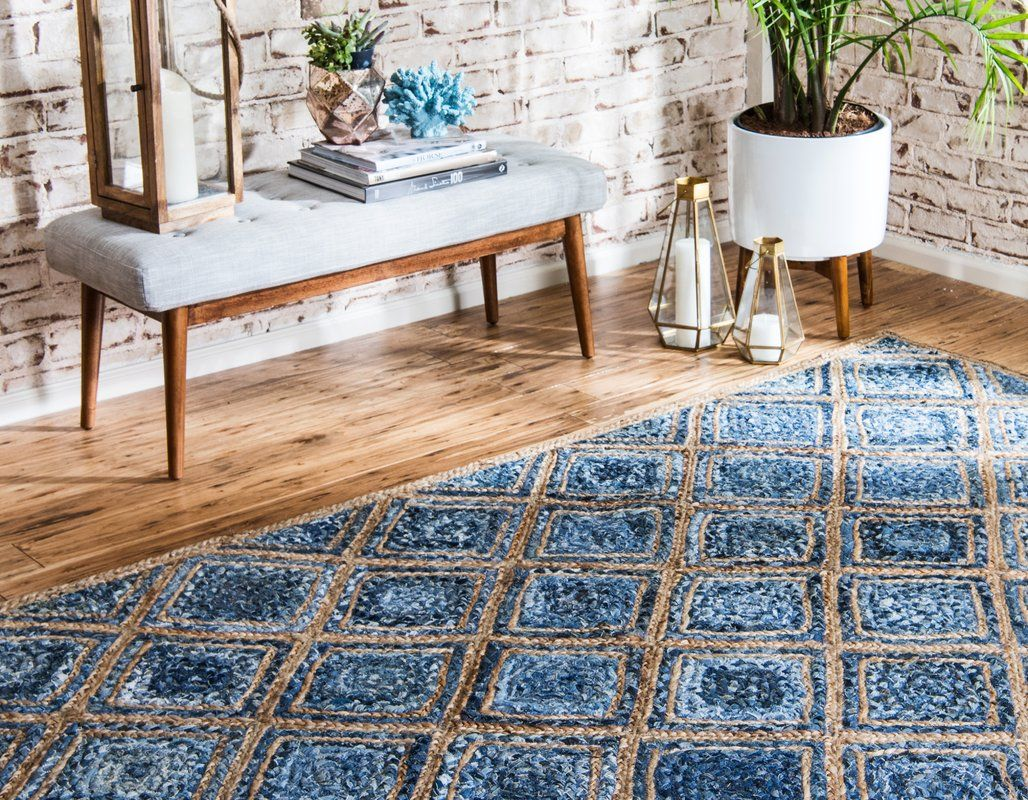 Mcrae Hand Braided Blue Area Rug With Images Braided Jute Rug