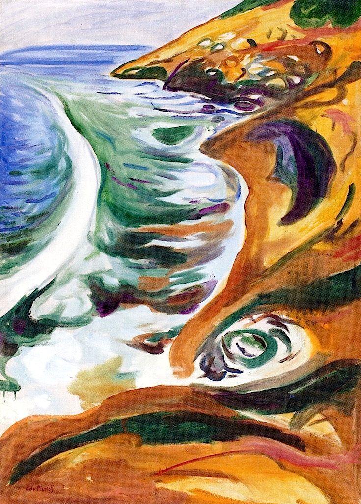 Edvard Munch, Olas rompiendo en las rocas, 1919.